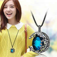 Moon Crystal Retro 2016 Korea Women Jewelry Long Pendant Sweater Chain Necklace