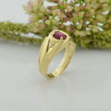 10k Yellow Gold Vintage Ruby & Diamond Ring Size 7.75