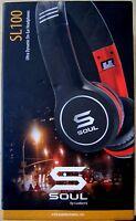 SOUL Ludacris SL100 High-Def Sound Isolation Headphones in Carry Case Red Trim