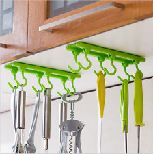 6 Hooks Cup Holder Hang Kitchen Cabinet Under Shelf Storage Rack Organiser Hook