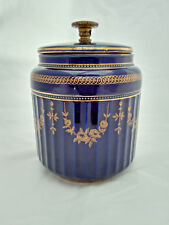 Early 20th C Atlas Globe China Blue Gilt floral pattern Tobacco Jar no 3779/1