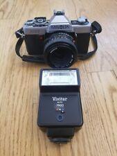 Minolta XG-1 35mm SLR Film Camera w/50mm f2 MD Lens & Vivitar Flash