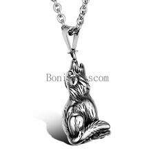 Stainless Steel Mens Black & Silver Tone Wolf Pendant Necklace for Men's Gifts