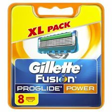 GILLETTE FUSION PROGLIDE POWER BLADES X 8 (100% GENUINE UK)