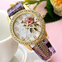 New Fashion Women Gilt Analog Quartz Casual Leather Band Wrist Watch
