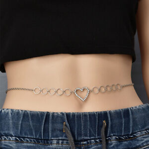 Women Girls Full Metal Rhinestone Heart Waist Chain Body Chain