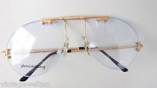 Filou besondere Randlosbrille gold XL Pilot Brille ohne Rand Vintage size L