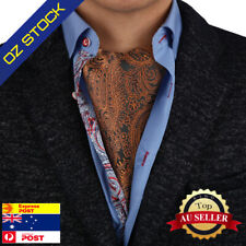 Brown Paisley Men's Large Cravat Tie Set Evening Silk Ascot Epoint C.B.AQ.J.006