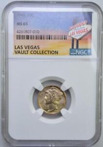 1945 Mercury Dime NGC MS 65 Las Vegas Vault Collection Champagne Toned Obverse
