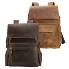 "Retro Men Leather Hiking Backpack 16"" Laptop Bag Travel Bag School Bag Daypack"