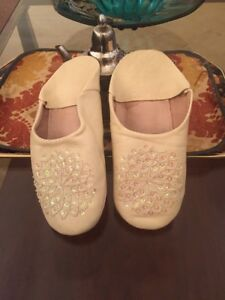 Authentic Handmade Moroccan Leather Slippers Shoes Babouches Size 10 Sequin NEW
