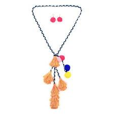 Handmade Ethnic Tassel Pendant Necklace With Earrings Set For Women Long Chain