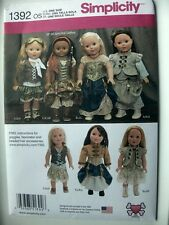 "Simplicity Pattern 1392 Steampunk Costume for 18"" Doll outfits period dress"