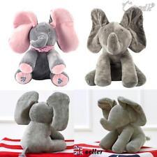 "Peek-a-boo Elephant Baby Plush Toy Singing Stuffed Animated Animal Kids Doll 12"""