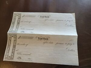 pair of Antique blank checks New York very fine collectable vintage