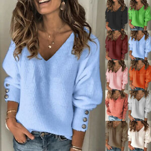 UK Womens Knitted Tee Casual Holiday Pullover Blouse Jumper Ladies Loose Tops