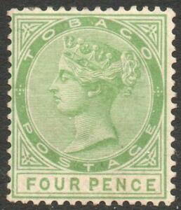 TOBAGO: 1880 - Sg 10 - 4d Yellow-Green Unused No Gum Example (39231)