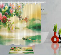 Fisherman Flowers Oriental Flavor Shower Curtain Bathroom Polyester Fabric Hooks