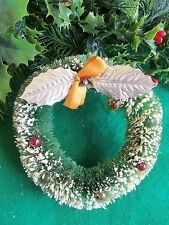 Vintage Bottlebrush Green Wreath&Mercury Glass Beads&Silver Leafs Xmas Ornament