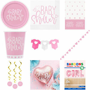 Baby Shower Girl Pink Decorations Tableware Balloons Banner Plates Napkins Cups