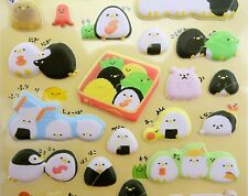 Japanese North Pole animal onigiri PUFFY stickers! Kawaii bento box penguins
