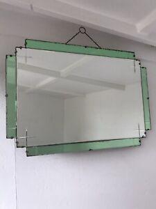 Vintage Frameless Mirror art deco beveled edged frameless Green Mirror