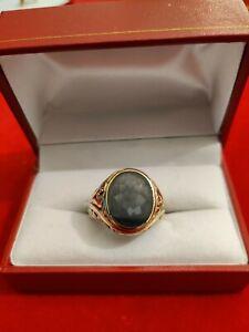 Herren Ring mit grünem Edelstein in 585er Gelbgold 8,5 Gr Größe 62
