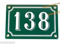 Plaque émaillée NUMERO de RUE 138 vert & blanc émail enamel plate street number