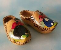 "Vintage Wooden Small Dutch Clogs Shoes Made In Holland Hand Painted 7"" Long"