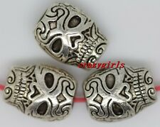 40pcs Retro style Tibet Silver skull Charms Spacer Beads 10x8mm(lead free)