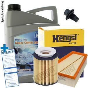 Hengst Filterpaket Set + Lott 5W-30 Motoröl für Mercedes A + B-Klasse GLA CLA