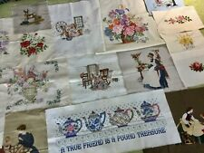 Lot Of 19 Completed Cross Stitch Pieces ~ Unframed ~ Floral ~ Victorian Scenes