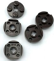 Lego 5 New Dark Brown Plate Pieces Round 2 x 2 with Axle Holes