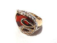 Bijou alliage doré bague cristal orangé  taille 57  ring