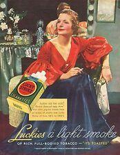 1936 BIG Vintage Lucky Strike Cigarettes Lady Thirties Fashion Photo Print Ad