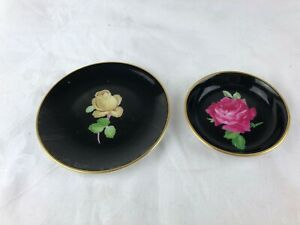 2 LOVELY LITTLE PIN DISHES - OLATES - BLACK WITH A PINK & YELLOW ROSE - GERMANY