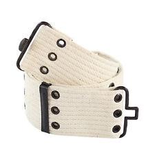 Vintage Men's Pistol Belt, GI Style, Metal Closure, White, Great for Costumes!