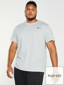 Nike Plus Size Solid Crew Neck T-Shirt - Grey - XXL