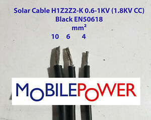 Solar Cable 6mm²  or 10mm² Black Double insulated Per Metre One Length