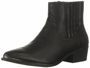Madden Girl Womens Nevvada Pointed Toe Ankle Cowboy Boots, Black Paris, Size 6.0