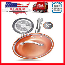 8 Inch Copper Non Stick Frying Pan Ceramic With Lid Skillet Kitchen Cookware