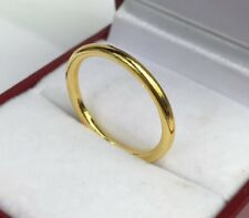 24K Solid Pure Gold Handcraft Solid Weeding Band Ring 3.45 Grams. Size 6