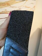 Women's Wide Belt Navy Blue Elasticated Glitter Sparkling