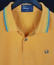 FRED PERRY Mens Solid Orange S/S Golf Polo Shirt Small S Slim Fit