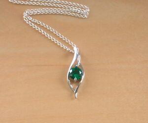 "925 Emerald (Lab Created) Gemstone Pendant & 18""Chain/Silver Emerald Necklace UK"