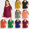 Plus Size Women Plain T Shirt Casual Summer Holiday Lady Loose Blouse Tee Tops
