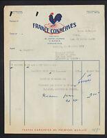 """LIMOGES (87) ALIMENTS en CONSERVE """"FRANCE CONSERVES"""" en 1953"""
