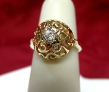 RARE 14K YELLOW GOLD FILIGREE 0.15 CTW ROUND DIAMOND BALL STYLE RING