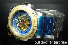 Men Invicta Specialty Seagull Mechanical Skeleton Gold Blue Steel Watch New