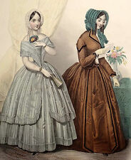 LE FOLLET 1845 Hand-Colored Fashion Plate #1227 Party & City Gowns ORIG.PRINT